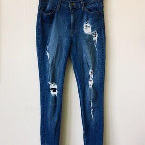 Ripped Skinny Fashion Nova Jeans with Side Zippers